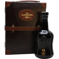 75cl / 43% / Distillery Bottling - A fantastic whisky from Glenlivet with beautiful presentation - a 21 year old in a dark glass bottle packaged in a small leather suitcase.