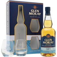70cl / 40% / Distillery Bottling - This gift set contains a bottle of peated entry in Glen Moray's Classic range of excellent-value Speyside whiskies, and a pair of glasses. This is a lightly spiced whisky with notes of smoke and vanilla.