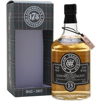 70cl / 46% / Cadenhead's - A 15-year-old Glen Spey from Cadenhead's Small Batch series. Distilled in 2001 and aged in a bourbon hogshead this is a classic spicy and fruity example from one of Diageo's lesser-known distilleries.