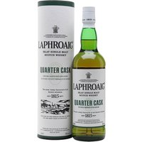 70cl / 48% / Distillery Bottling - A vibrant young Laphroaig whose maturation has been speeded up by ageing in quarter casks. This shows soft sweetness and a velvety feel when first tasted, then the intense peatiness so unique to Laphroaig comes bursting through. A terrific whisky and great value.