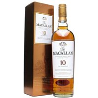 70cl / 40% / Distillery Bottling - Matured exclusively in oak sherry casks from Spain, Macallan 10yo is a deep, rich, deliciously smooth and well-rounded flavour with a slight sweetness and touch of sherry and wood. Its deep colour is achieved wholly naturally without the addition of any colouring.