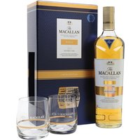 70cl / 40% / Distillery Bottling - This gift set contains a bottle of Macllan Gold and two tumblers. Macallan Gold was released in late 2012 as part of a series of colour-themed bottlings introduced to replace the distillery's age-statement expressions.  Produced from 9-15yo first fill and refill sherry casks, it was designed to sit between the now-defunct 10yo Sherry Oak and 10yo Fine Oak bottlings.
