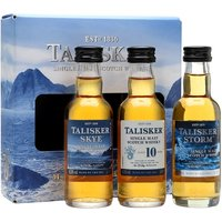 15cl / 45.8% / Distillery Bottling - This gift set is a great way to try the Talisker range. It contains a miniature each of Skye, Storm and 10 Year Old. Three coastal whiskies from the Isle of Skye distillery.