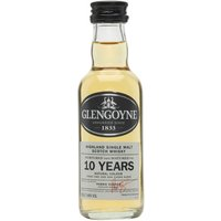 5cl / 40% / Distillery Bottling - A miniature bottle of 10 year old Glengoyne, the distillery's entry level offering.  Glengoyne is reported to be one of Scotland's least peated malts, due to the fact the barley is dried by air.