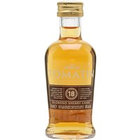 5cl / 46% / Distillery Bottling - A miniature of Tomatin 18 Year Old � finished in first-fill oloroso-sherry butts. This add notes of dark chocolate and citrus to honey and soft spice.
