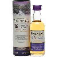 5cl / 40% / Distillery Bottling - A mini bottle of the delightfully gentle Tomintoul 16yo Speyside single malt.