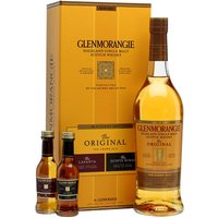 80cl / 40.6% / Distillery Bottling - The Pioneer gift set from Glenmorangie contains a bottle of the excellent 10 Year Old with miniatures of sherry-cask-finished Lasanta and Port-cask-finished Quinta Ruban.