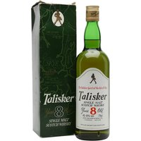 75cl / 45.8% / Distillery Bottling - An old 1980s distillery bottling of Talisker 8 year old, featuring the Johnnie Walker Striding Man at the top of the front label.