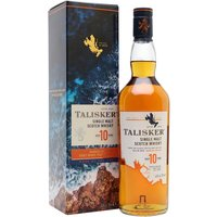 70cl / 45.8% / Distillery Bottling - A massive success as the island representative in Diageo's 'Classic Malts' series, Talisker 10yo's profile keeps increasing as more fans discover its intense coastal spicy, peaty character.  A truly elemental malt.