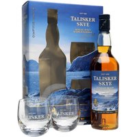 70cl / 45.8% / Distillery Bottling - This gift pack contains a pair of glasses and a bottle of Talisker Skye. It is an easy-drinking Talisker, taking the distillery's classically rugged character and softening it out, while maintaining the smoky and sweet notes the distillery is known for. More approachable, but still definitely Talisker.