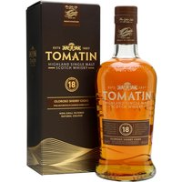 70cl / 46% / Distillery Bottling - Relaunched in 2016, Tomatin 18 Year Old is finished in first-fill oloroso-sherry butts. This add notes of dark chocolate and citrus to honey and soft spice.