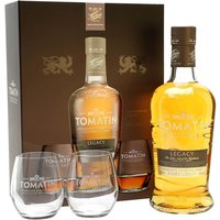 70cl / 43% / Distillery Bottling - A gift pack containing a bottle of Tomatin Legacy and a pair of branded tumblers to share it from. Legacy was released to celebrate the effect that the distillery has had on the local community. A tasty dram that shows off the distillery's character.