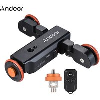 Andoer L4 Autodolly 3 Speed Adjustable with Wireless Remote Control/ 1800mAh Rechargeable Battery Electric Motorized 3-Wheel Pulley Car Slider Rolling Skater for Canon Nikon Sony DSLR Camera for iPhone X 8 7 7 plus 6 plus Smartphone for GoPro 5/4/3+/3 Act