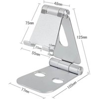 Creative adjustable iPad mobile phone bracket double folding aluminum alloy mobile phone bracket metal desktop bracket black
