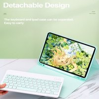 Keyboard Case with 7 Color Backlight Detachable BT3.0 Keyboard Pen Slot Compatible with iPad Pro 11(2018/2020) Yellow