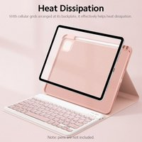 Detachable BT Keyboard Case+Mouse Pen Slot Heat Dissipation Compatible with iPad 10.2(2019/2020)/Air 10.5/Pro 10.5, Pink