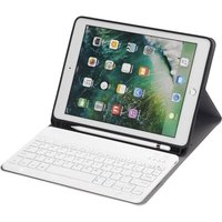 BT3.0 Wireless Keyboard Case iPad Protective Case Portable Keyboard for iPad Pro 10.5/iPad Air3 10.5/iPad 10.2(2019) (Blue-White)