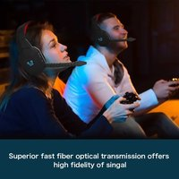 HUHD Wireless Headset 2.4Ghz Optical Stereo Noise Canceling Gaming Headphone with 7.1 Surround Sound Detachable Mic Rechargeable Battery for Mac, for PS3/4,for Xbox One, for Xbox 360, TV, PC