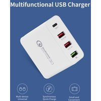 Fast Charge 4 Ports USB Phone Computer iPad Charger Type-C Port Universal Double Holes QC3.0 USB Charger UK Plug