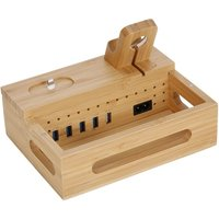 3-in-1 Bamboo Desktop Storage Bracket Mobile Phone Tablet Charging Station for Phone iPad Apple Watch Airpods EU Plug