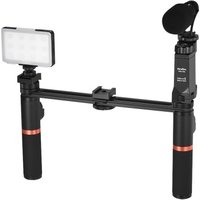 ViewFlex VF-H7 Smartphone Video Rig Dual Handheld Metal Grip Stabilizer Kit with Remote Control / Dimmable LED Light/ Microphone for iPhone 6 6s Plus for Samsung Galaxy S8+ S8 Note 3 Huawei