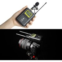 Professional Wireless Video Recording Microphone System (2 * Transmitter+ 1 * Receiver) Support Dual-channel UHF Low Cut Function with Lavalier Lapel Microphone Mic with LCD Display Screen for Canon Nikon Sony iPhone 6 Huawei DSLR DV Cameras Interview Sou