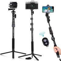 Andoer 54-inch Extendable Selfie Stick Tripod Stand Aluminum Alloy with Detachable Desktop Tripod Phone Holder Sports Camera Mount Adapter Remote Shutter Compatible with iPhone and Android Phones for Selfie Group Photo Live Video