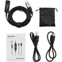 BOYA BY-BCA7 PRO 6M/20FT Ultra Long Microphone Cable XLR to Lightning & USB-A Connectors 3 Levels Gain Control with 3.5mm Headphone Jack Replacement for iPhone iPad Windows Mac PC
