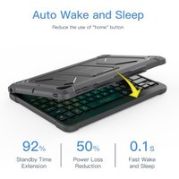 dodocool MFi Certified Detachable Smart Keyboard with Lightning Connector for  2018 new iPad 9.7-inch Built-In Holder for Apple Pencil Auto Sleep/Wake Hard Clamshell Detachable Cover Folio Case Stand Backlit Keys Shortcuts Black