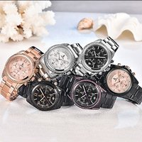 IK COLOURING 2017 Luxury Brand Stainless Steel/Genuine Leather Women Watches Quartz Analog Diamond Water-Proof Ladies Casual Dress Wristwatch + Box