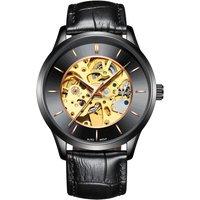IK COLOURING Luxury Skeleton Automatic Mechanical Men Watch Genuine Leather Self-Wind Watch Man Casual Wristwatch