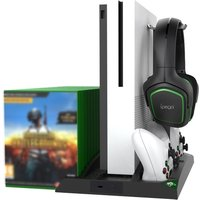 ipega PG-XB007 6 in 1 Multifunctional Vertical Stand with Dual Controller Charger Dual Cooling Fans Game Storage Headset Strand Two Contact Adapters Compatible with Xbox One Xbox One S Xbox One X Black