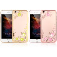 Original KKmoon Luxury Protective Clear TPU Back Case Bling Rhinestone Bumper Frame Flexible Design with Crystal Diamond Plating Phone Shell Cover for iPhone 6 6S 4.7inch