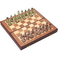 Chess Metal Chess Metal Chess Pieces Wooden Folding Chessboard Alloy Board Game Chessboard Gift