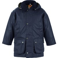 John Lewis and Partners Childrens Wax Jacket, Navy