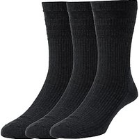 HJ Hall Cotton Softop Socks, Pack of 3, One Size, Black