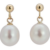 A B Davis 9ct Gold Freshwater Pearl Pear Shaped Drop Earrings