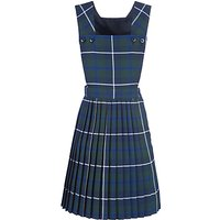 Girls' School Tartan Pinafore, Green/Navy