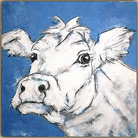 Nicola King - Cow On Blue