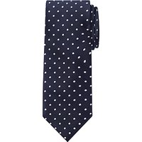 John Lewis Spotted Silk Tie, Navy/White