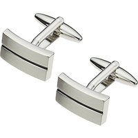 John Lewis Stripe Oblong Cufflinks, Black