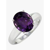 shop for E.W Adams 9ct White Gold Large Amethyst Ring, White Gold at Shopo