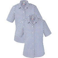 Grey Coat Hospital School Short Sleeve Blouse, Pack Of 2, White/Blue