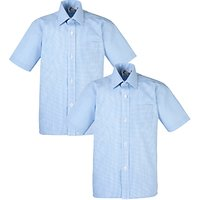 Boys' School Check Print Short Sleeve Shirt, Pack of 2, Blue/White