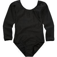 Girls' School Long Sleeve Leotard, Black