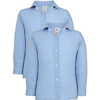 Girls' School Long Sleeve Checked Blouse, Pack of 2, Blue/White