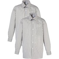Striped Long Sleeve Unisex School Shirt, Pack of 2, Grey/White