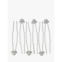 shop for John Lewis & Partners Faux Pearl and Diamante Hair Pins, Pack of 6, Silver at Shopo