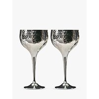 Culinary Concepts Hammered Wine Goblets, Box of 2, Silver