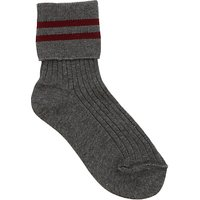 Tockington Manor School Boys Summer Socks, Grey/Red